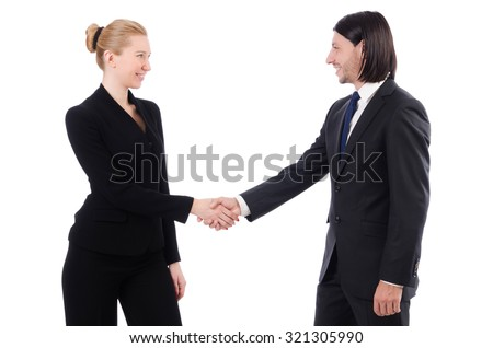 Businessman and businesswoman isolated on white - stock photo