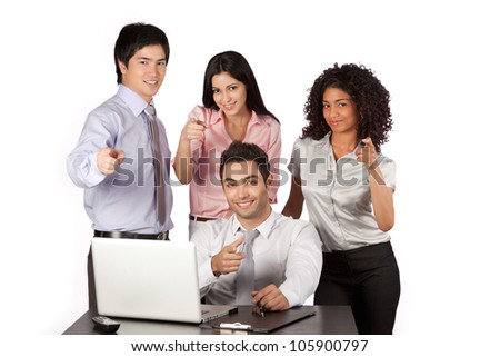 Businessman and businesswoman pointing finger at work isolated on white background.