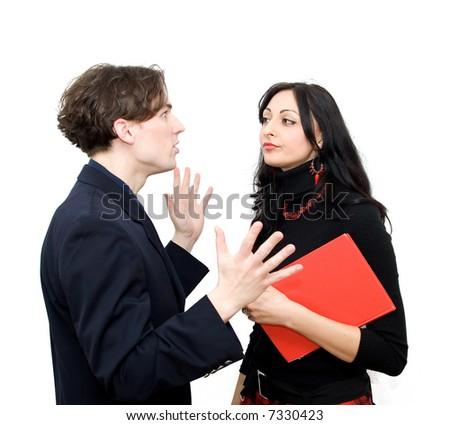 businessman and businesswoman posing studio isolated