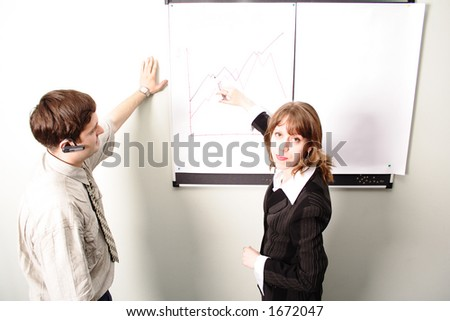 Businessman and businesswoman report an executive business meeting.