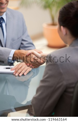 Businessman and Businesswoman shaking hands in an office