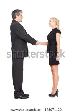 Businessman and businesswoman shaking hands isolated on white - stock photo