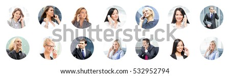 Businessman and businesswoman talking on the telephone. Online support, business, connectivity and communication concept. Collage with different people with a smartphones.