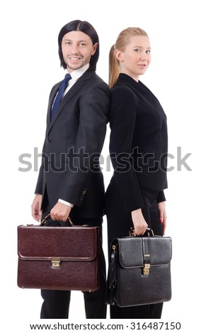 Businessman and businesswoman with briefcases isolated on white - stock photo