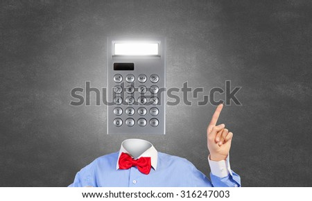 Businessman and calculator instead of his head