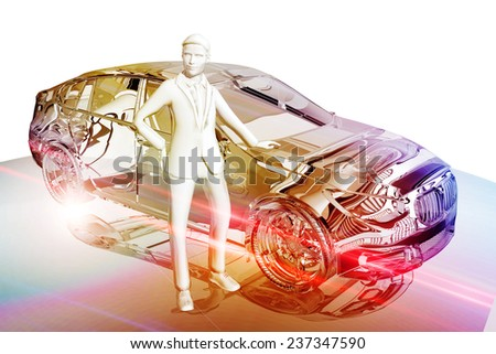 Businessman and car - stock photo