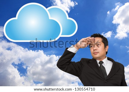 businessman and cloud - stock photo