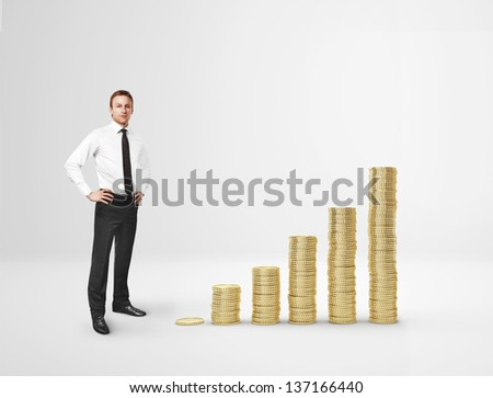 Businessman and coin diagram - stock photo