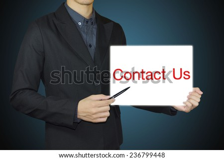 businessman and contact us concept. - stock photo