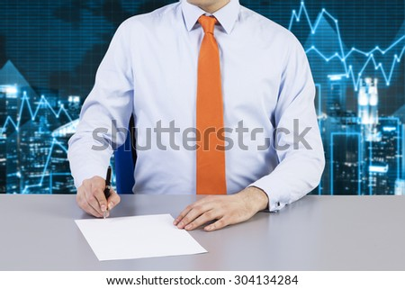 Businessman and contract signing process. Financial charts on the background and night business city. - stock photo