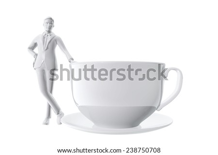 Businessman and cup of coffe - stock photo