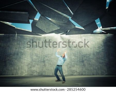 businessman and 3d falling roof - stock photo