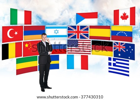 Businessman and different countries flags