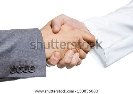 Businessman and doctor shaking hand's. Isolated on white - stock photo