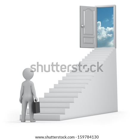 businessman and door to heaven - stock photo