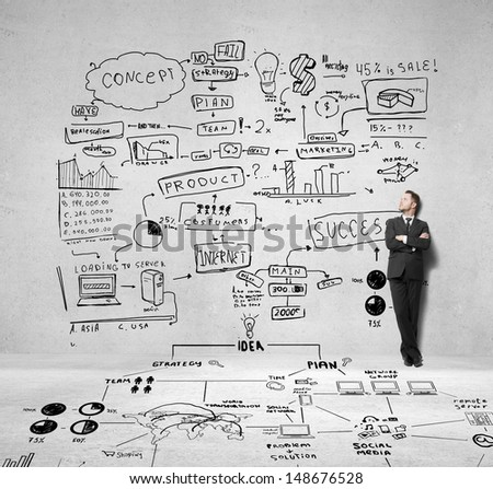 businessman and drawing business concept on wall