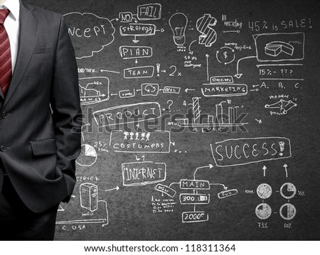 businessman and drawing business strategy - stock photo