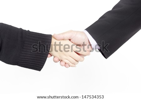 Businessman and female shaking hands, isolated on white.