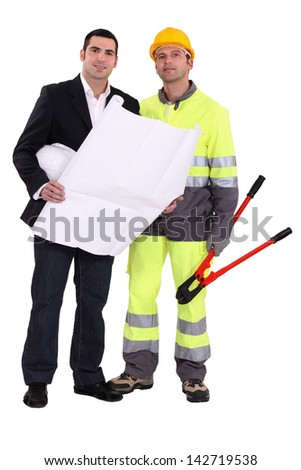 Businessman and foreman - stock photo