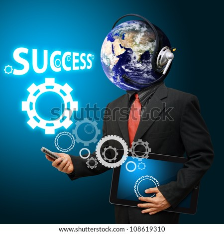 Businessman and gear to success : Elements of this image furnished by NASA