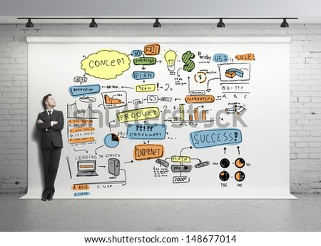 businessman and global concept on white backdrop - stock photo