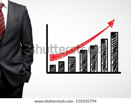 businessman and growth chart  on white background - stock photo