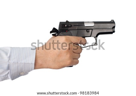 businessman and gun in hand - stock photo