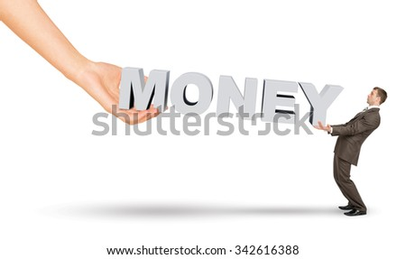 Businessman and hand holding word money on isolated white background - stock photo