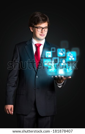 Businessman and icons projection