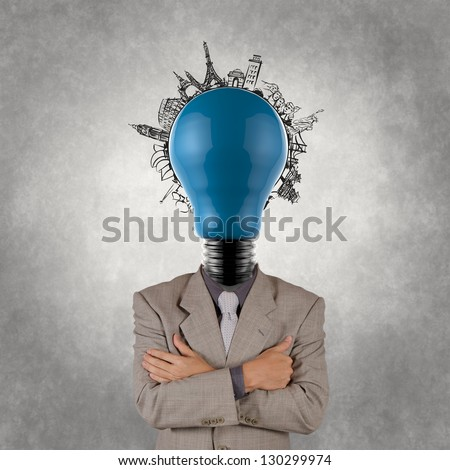 businessman and light bulb head and traveling around the world as concept - stock photo