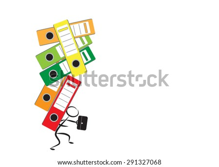 Businessman and office folders as concept for office burnout - stock photo