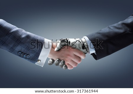Businessman and robot's handshake on gradient background. Artificial intelligence technology - stock photo