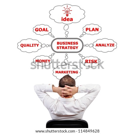 businessman and scheme  business strategy - stock photo