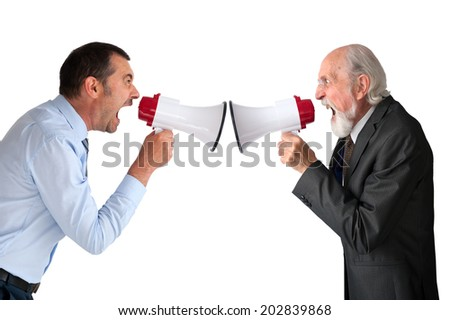 businessman and senior male manager with megaphones on white - stock photo