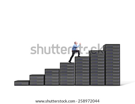 businessman and server stair 3d background - stock photo