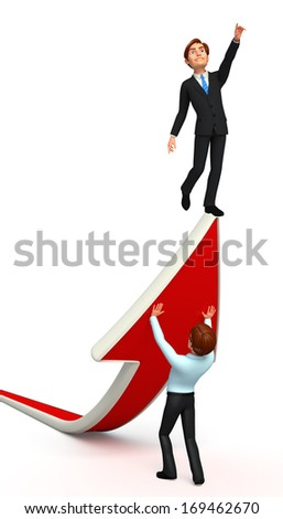 businessman and serviceman with arrow - stock photo