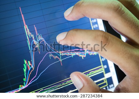 businessman and stock market graph and bar chart price display,Businessman failure in stock market - stock photo