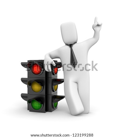 Businessman and traffic light. Red light - stock photo