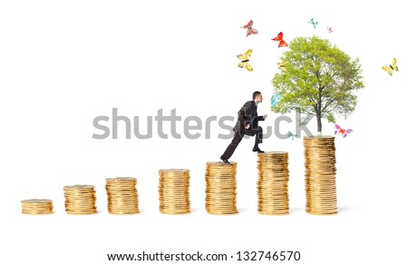 Businessman and tree with butterflies on money stairs isolated on white background - stock photo