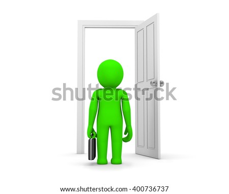 businessman and white doors open 3d rendering
