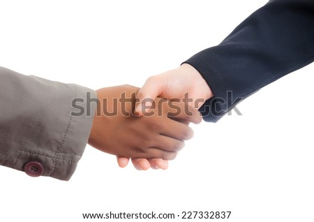 Businessman and Woman Giving a Handshake, isolated on the white background.