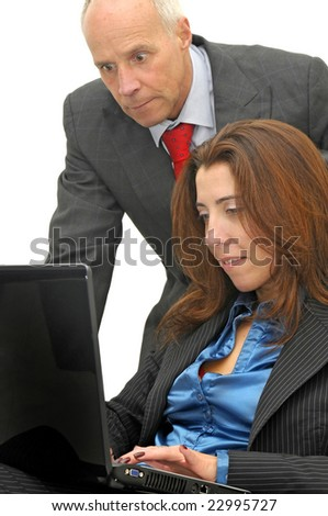Businessman and woman with laptop isolated against a white background