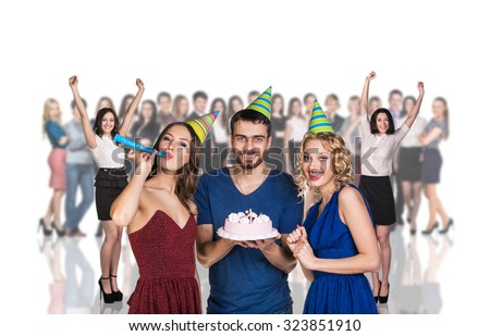 Businessman and women stand foreground on the blurred people and white background - stock photo