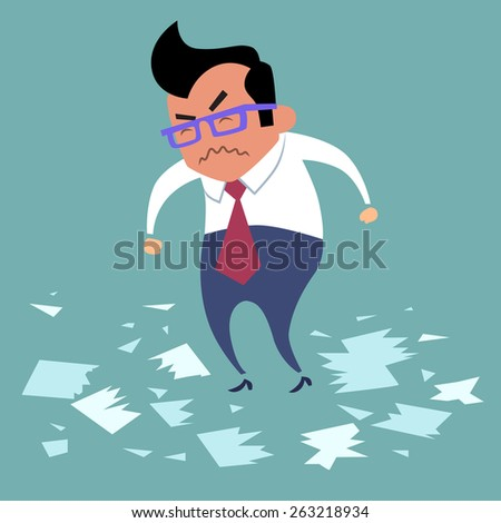 Businessman angry office work boss torn documents, a bad deal, bad day - stock photo