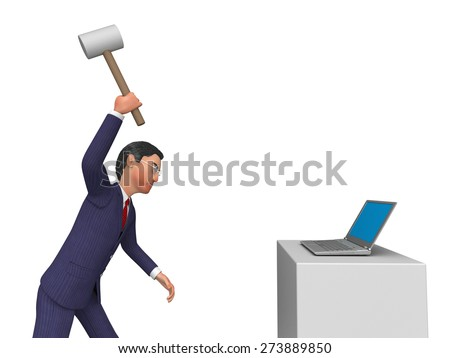 Businessman Angry Representing Executive Annoy And Corporation - stock photo