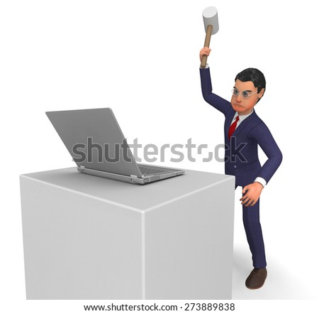 Businessman Angry Representing Technology Digital And Corporate - stock photo