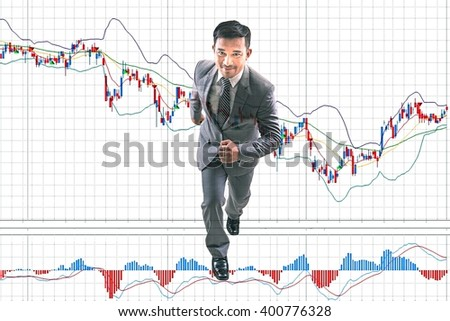 Businessman are ready to race against stocks and shares