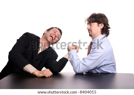 businessman arm wrestling - stock photo