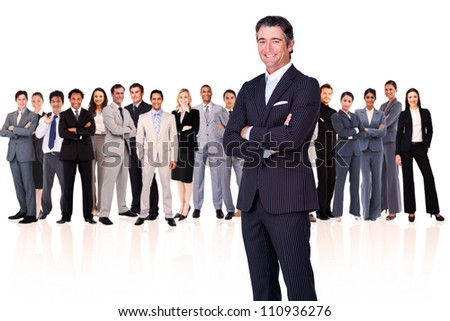 Businessman arms crossed against a white background