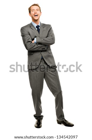 businessman arms folded smiling isolated white background